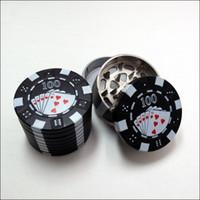 """Wholesale Poker Grinders Wholesale - Zinc Alloy Poker Chip Herb Grinder 1.75"""" Mini Poker Chip Style 3 Piece Herb,Spice,Tobacco Grinder Poker Herb Smoke Cigarette Grinder"""