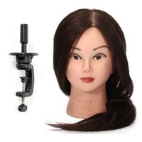 Wholesale Hairdressing Training Heads Real Hair - Pro Mannequin Head With Clamp 95% Real Human Brown Long Hair Hairdressing Cutting Training