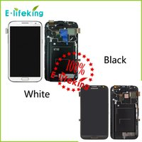 Wholesale Note I317 - Excellent For Samsung For Galaxy Note 2 N7100 N7105 i317 T88 Lcd Digitizer Display Screen Assembly Grey or white with Frame Free Shipping