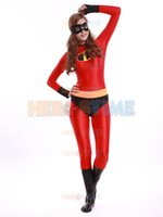 Wholesale Female Superheroes - The Incredibles Elastigirl Costume red spandex fullbody Incredibles superhero costume zentai suit free shipping