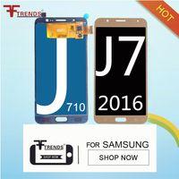 Wholesale Tft Test - TFT LCD Display 100% Tested Working Touch Screen For Samsung Galaxy J7 2016 J710 J710FN J710F J710M J710 Digitizer Can Adjust Brightness