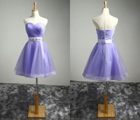 Wholesale Homecoing Dressed - 2016 Sexy Purple Short Prom Dresses Beaded Crystals Tull A Line Sweetheart Cocktail Party Dresses Cheap Mini Homecoing Prom Dress Custom