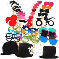Wholesale Booths Bows - Wholesale- photo booth props 46PCS wedding party decoration lips moustache bow tie wedding birthday christmas new year parties Photo Booth