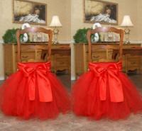 kırmızı sandalye yayı kaplıyor toptan satış-Kırmızı Tutu Tül Sandalye Sashes Saten Yay Made-to-Sipariş Sandalye Etek Güzel Ruffles Düğün Süslemeleri Sandalye Doğum Günü Parti Malzemeleri Kapakları