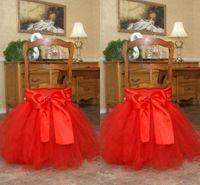 ingrosso decorazioni con sedia in tulle-Red Tutu Tulle Chair Sashes Fiocco in raso Gonna per sedia su misura Bella increspature Decorazioni di nozze Coprisedie Forniture per feste di compleanno