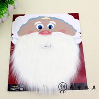 Wholesale Santa Fancy Dress - Christmas Santa White Fake Beard Mustache Whiskers Unisex Fancy Dress Xmas Party Stage Performance Props wen4755