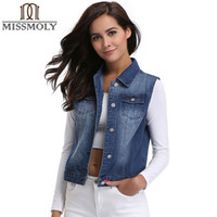 Wholesale White Duck Costume - Miss Moly Denim Jeans Women Waistcoat Basic Jackets Casual Sleeveless Spring Fall Vest Coat Female Femme Costume Vintage Top TMR