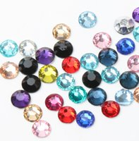 Wholesale diamond loose - New Diy 5000pcs 6mm Facets Resin Rhinestone Gems Silver Flat Back Crystal Loose Diamonds Beads 16Colors
