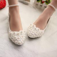 dantel ayakkabıları inci toptan satış-İnciler ve Dantel 2018 Düğün Ayakkabı Flats Gelin Ayakkabıları Tatlı Rahat Flatforms İnciler Halhal ile Balo Parti Ayakkabı