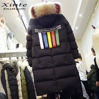 2017 Winter Down Jackets Women 100% Real Colorful Fox Raccoon Fur Trim Hood Outwear Long Down Coat Parkas Теплый топ качества