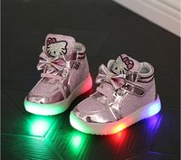 Wholesale Toddler Velcro Sneakers - New Baby Girls boy LED Light Shoes Toddler Anti-Slip Sports Boots Velcro Kids Sneakers Children's Cartoon Cat Flats