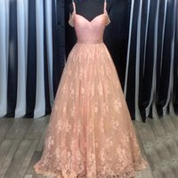 Wholesale Real Actual Rhinestone Crystal Dress - Actual Image Pink Cold Shoulder Dresses Evening Wear A line Lace Ruched Crystal Rhinestones Long Cheap Prom Pageant Formal Dress Gowns New