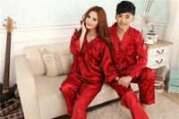 Wholesale Couple Pajamas Set - Faux silk mens pajama sets men lovers sleepwear male sleep&lounge Chinese red wedding Pijamas for women couple pajamas female pyjamas