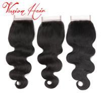 Wholesale Good 4x4 - Body Wave Human Hair Weaves 4x4 Closure Unprocessed Peruvian Human Hair Extensions Good Cheap Mink Peruvian Body Wave Closure