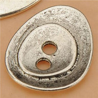 Wholesale Single Bead Drop - Button Beads Bangles Necklaces Jewelry Hand Making Water Drop 2 Holes Single DIY Retro Silver Metal Accessories For Crafts 23*19*2mm 50pcs