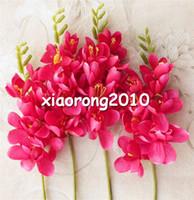 Wholesale fake flowers arrangements - Silk Freesia Flower Fake Orchids 30cm Artificial Orchid Flowers for Wedding Centerpieces Floral Arrangement Artificial Decorative Flowers