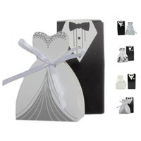 Wholesale Tuxedo Wedding Gift Bags - S5Q 100pcs Groom Bridal Tuxedo Dress Wedding Candy Gifts Ribbon Favor Bags Boxes AAAERJ