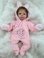 Wholesale Branded Soft Toys - Wholesale-18 Inch Soft Silicone Reborn Baby Dolls Baby Alive Doll For Girls Handmade Vinyl Stuffed Toys Realistic NPK Brand Doll Big Eyed