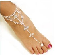 Wholesale Slave Cross - 2016 sexy rhinestones barefoot sandals stretch slave anklet chain crystal foot jewelry high quality silver color