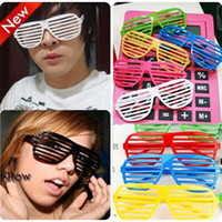 Wholesale New Shutter Fashion - EMS Free 13 Color fashion Shutter glasses 2015 New Holiday party Jokes&Funny Toys Shutter Shades glasses Sunglasses B