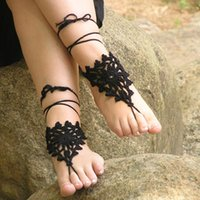 Wholesale Wholesale Crocheted Footless Sandals - Women Hand Crochet Triangles Shoes Handmade Design Footless Gothic Sandals Beach Wedding Trending,Made to Order