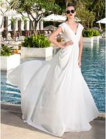 Wholesale brushing tiered wedding dresses for sale - Group buy 2016 New Fashion Classic Popular Ivory Sweep Brush Train Short Sleeve V neck Chiffon Sheath Column Wedding Dresses