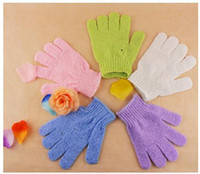 Wholesale Exfoliating Cleaner - Factory price 100pcs lot Exfoliating Bath Glove Five fingers Bath Gloves Convenient and comfortable health free shipping [SKU:A457]