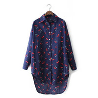 Wholesale Ladies Cherry - Women Brand Clothing Cherry Printed Long Shirt Fashion Casual Asymmetric Length Blouse Summer Spring Autumn Tops For Ladies