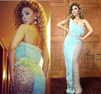 Wholesale Tassel Unique Sexy - Hot Myriam Fares One Shoulder Celebrity Evening Dresses Unique Tassels Luxurious Beading Crystals Sheer Floor Length Dresses Party Evening