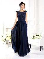 Wholesale Sheath Scoop Knee Length Chiffon - Navy Mother of The Bride Dress A Line Scoop Cap Sleeve Beads Mother of the Groom Dresses Women Prom Evening Gowns Custom Made