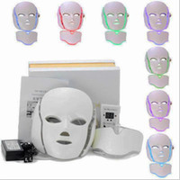Wholesale lighted mask acne - 7 ColorS PDT LED Light Therapy Face Neck Mask Anti-Aging Device Rejuvenation Therapy Wrinkles Treatment Massager Relaxation