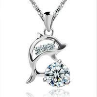 boda púrpura del diamante fijada al por mayor-NUEVA LLEGADA 925 collar de plata esterlina de calidad superior Diamond Cubic Zircon Dolphin Colgante Púrpura / plata para el vestido de boda Conjuntos