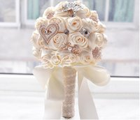 "Wholesale Flower Bouquet Accessories - ""Handmade Rose"" 2015 New Bridal Bouquet Wedding Accessories Brooch Crystal Pearl Wedding Bouquet Holding Flowers"