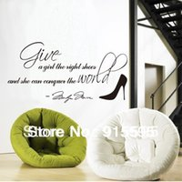 "Wholesale Vinyl Cpa Stickers - Free Shipping:[CPA] Black Marilyn Monroe Quote""Give The Right Shoes""Vinyl Wall Quotes Lettering Wall Stickers Home Decor 30*60Cm"