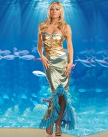 Wholesale Mermaid Adult Halloween Costume - Free shipping! Sexy Adult strapless Mermaid Long Dress Stretch Halloween Party costume cosplay Mermaid costumes 2230
