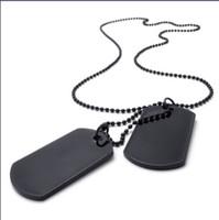 siyah köpek zincirleri toptan satış-Ordu Stil Köpek Etiketi Çapraz Kolye Erkek Kolye Renk Siyah Gümüş 24 inç Zinciri