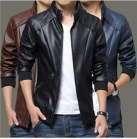 Wholesale Leather Jacket For Short Men - Spring Autumn Winter Men PU Leather Jackets For Men Motorcycle Jackets For Men Solid Casual Zipper Long Sleeve coat