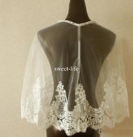 accesorios de vestido de boda envuelve al por mayor-Marfil 2017 Encaje Nupcial Wraps Por Encargo Chaquetas Baratas Apliques de Novia Para Vestidos de Novia Envío Rápido Accesorios Nupciales