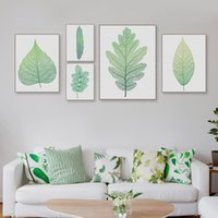 Modern Nordic Green Plant Leaf Canvas A4 Arte Poster Print Wall Picture Decoração para casa Beautiful Girl Room Large Painting No Frame Gifts