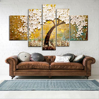 Wholesale Tree Life Panel Painting - Hand Painted Modern Fashion Abstract Oil Painting On Canvas White Flower Tree Paintings NO Frame