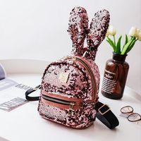 Wholesale Big Ears Bag - Children backpack New glitter felt Sequins Backpack girls Cute Big Rabbit Ears Double Shoulder Bag Women Mini Backpack kids Travel Bag R0568