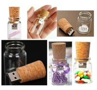 Wholesale Pen Drive Can - Fashion Wishing Bottle Flash Pen Drive Drift bottle 8GB USB 2.0 Memory Stick 2GB 4GB 16GB 8GB + Gift Box