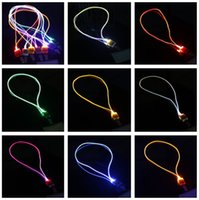 Moda Nylon Multi-cores Led Flashing Lanyard ID Card Pendant Pendurado Cordão para festa, shows e atividades ao ar livre Led Lighted toys C3315