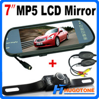 Wholesale Mirror Bluetooth Lcd - HD 7 Inch Car Bluetooth MP5 Rearview Camera LCD Monitor Mirror Car Reversing LED Nightvision Back up Camera