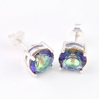 6 paires Luckyshine Gentle Round Shiny Colored Mystic Topaz Gems 925 Boucles d'oreilles plaqué argent sterling Russia Canada Stud Earrings Jewelry