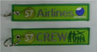 S7 Airlines One World Crew Custom Fabric Embroidery Aviation Keychain Key Tag + Ring 13 x 2.8cm 100шт. Лот