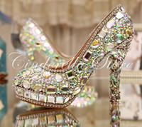 bombas de baile de diamantes al por mayor-AB Crystal Heels Luxury Diamond Platform Bombas de novia Zapatos de novia Lady Sparkling Prom Zapatos de fiesta Zapatos de madre de la novia