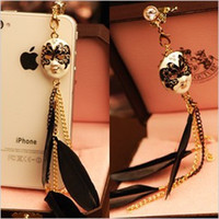Wholesale Baroque Phone - Wholesale-Wholesale Free Shipping new baroque mask feather tassel chain anti dust plug for mobile phone kpop cool headphones cap