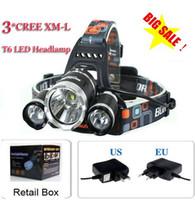 Wholesale Xm L T6 Bike - 5000 lumen 3x CREE XM-L 3T6 LED bike light Headlight flashlight head for hunting camping+EU UK AU US plug Charger