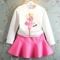 Wholesale Dolls Tutus - 2015 Autumn Girls Barbie doll Pattern 2pcs Dress Suits Long Sleeve Cartoon Pullover Tshirt+Ballet Skirt Cute Children Princess Outfits Sets